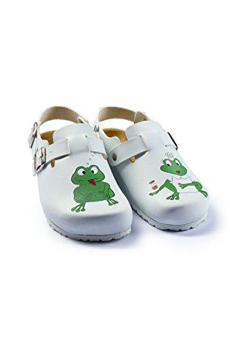 CLINIC DRESS - Damen-Clog Weiß Frosch-Druck weiß, Motiv Frosch 40