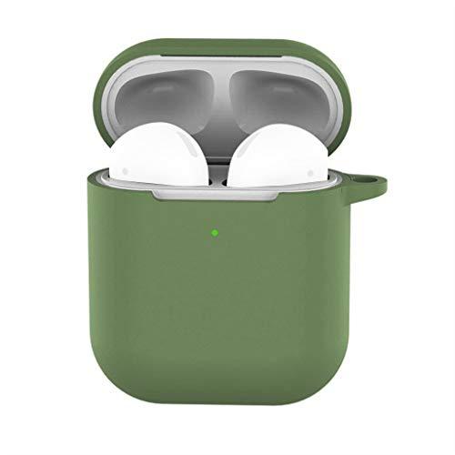 Preisvergleich Produktbild Wanshop für Apple AirPods Silikon Hülle Soft Case für Apple AirPods Schutzhüllen-Silikonhülle Schutz Kopfhörer Tasche für In Ear Ohrhörer (Armeegrün)