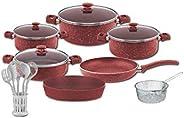 Turkish Granite Cookware Set 18 Pcs Red Color with Service Set - Pyrex Lids