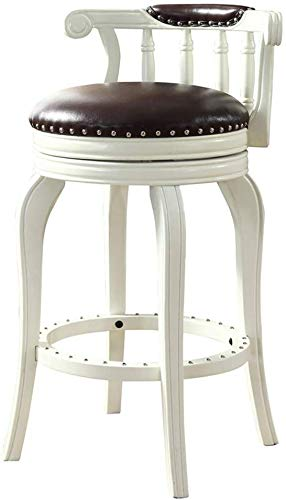 YZjk Retro White Dining Chair Rubber Solid Wood 360° Swivel Back bar Height Stool, Premium Leather upholstered,Perfect for Dining and Living Room,Counter,bar - 1PCS -