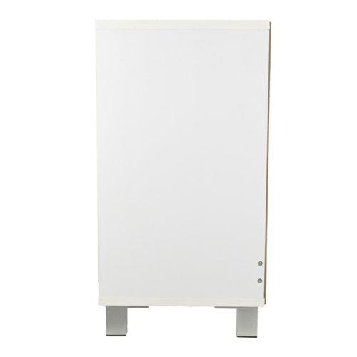 Waschbeckenunterschrank schlicht in weiß mit Glastür - 4