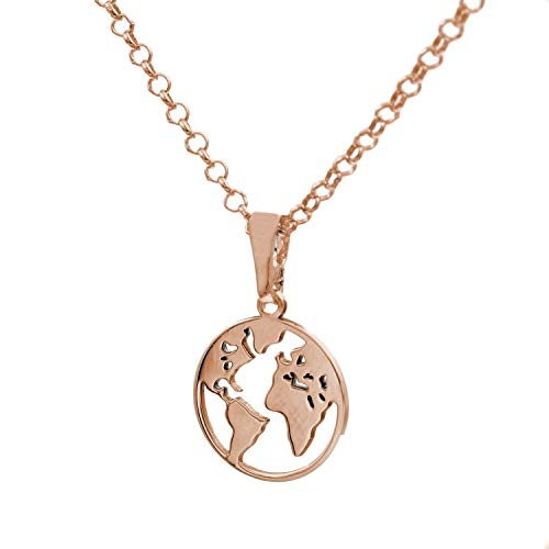 Gargantilla Bola del Mundo plata oro rosa