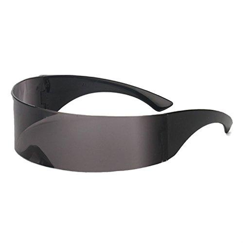 (Lustige futuristische Wrap Around Monob Kostüm Sonnenbrille Maske Neuheit Brille Halloween Party, Schwarz)