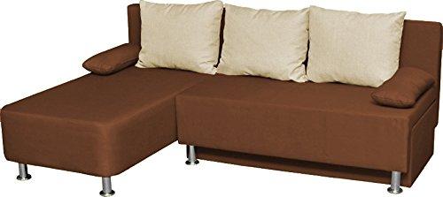"""VCM Ecksofa Schlafsofa Sofa Couch mit Schlaffunktion Gästebett Bettsofa Sofabett Braun 81 x 203 x 78 cm """"Magota"""""""