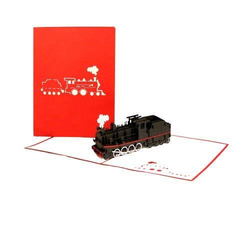 """3D Pop Up Karte """"Dampflok - Eisenbahn"""" - Geburtstagskarte, Reisegutschein & Geschenkgutschein Dampflokfahrt, 3D Klappkarte Lokomotive"""