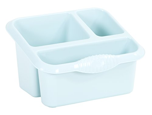 3 Compartment Plastic Sink Tidy Filter Cutlery Drainer Caddy Sponges Organiser Holder With Drainage Holes OR Desk Storage Stand (Duck Egg Blue)