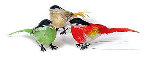 VBS 3er-Set Vogel ca. 9x5cm Kunstvogel bunt Gesteck Kranz Vögel Dekovögel (Große Vogel-hut)