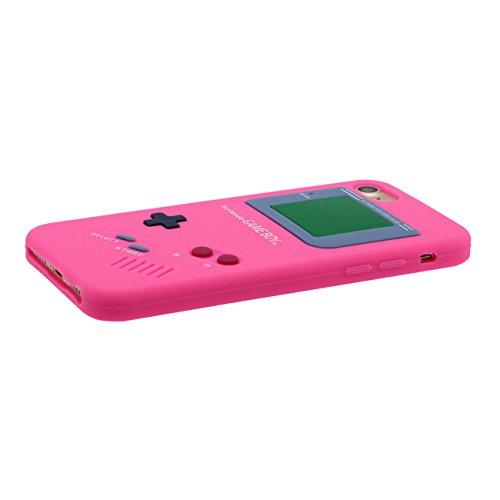Pour iPhone 7 3D Console de Jeu Portable Forme Coiffant Mode Silicone Gel TPU Doux Slim Ultra Fine Coque Case Etui de Protection pour iPhone 7 4.7 inch ( Rouge ) avec 1 Silicone Titulaire rose