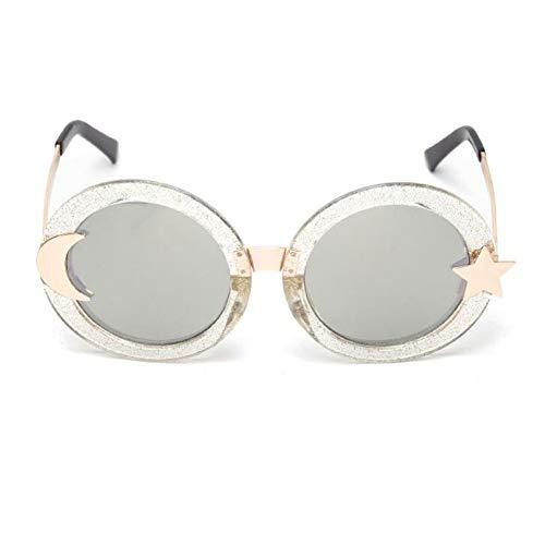 YLNJYJ Ralferty Moon Star Runde Sonnenbrille Damen Markendesigner Retro Sonnenbrille Uv400 Brille Circle Shades Oculo Lunette Femme 1007