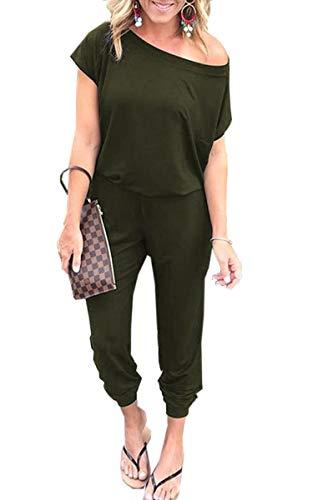 Angashion Angashion Damen Jumpsuit -Einer Schulter Kurze Ärmel Overalls Elastische Taille Rompers mit Taschen Armee grün S