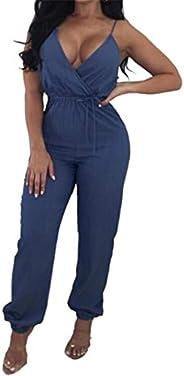 FRPE Women Casual Lace-Up Denim Pants V Neck Spaghetti Strap Jumpsuit Romper