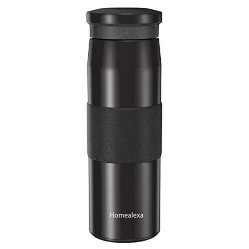 Homealexa Thermosflasche, 450ml Wasserflasche Vakuum Isolierbecher 304 Edelstahl, Kaffee to go Travel Mug, Thermobecher Reisebecher Kaffee und Tee zum Mitnehmen - Autobecher
