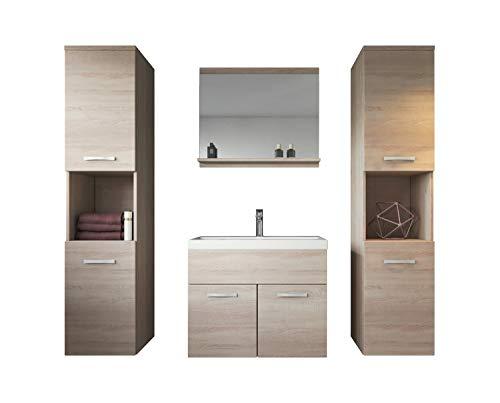 Badezimmer Badmöbel Set Montreal XL 60 cm Waschbecken Sonoma Eiche - Unterschrank Hochschrank Waschtisch Möbel