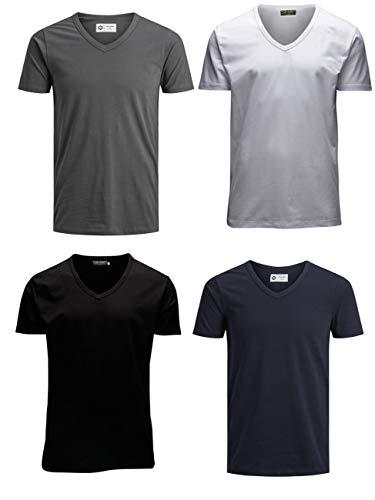 JACK & JONES Herren T-Shirt JJEBASAL Tee V-Neck GER KA - Regular Fit 4er Pack in vielen Farbvarianten, Größe:XXL, Farbe:1x White 1x Sky Captain 1x Asphalt 1x Black