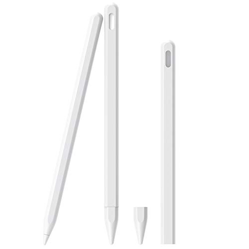 FXCO Elastic Protective Silicone Sleeve Grip Skin Case for Apple Pencil 2. Generation Protective Sleeve IPencil 2 Grip Skin Cover for iPad Pro 11 12,9 Zoll 2018, weiß -