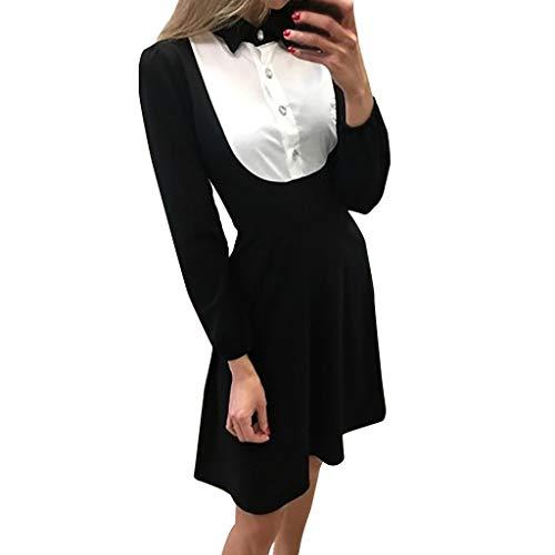 JXQ-N Damen Anime Cosplay Französisch Maid Schürze Kostüm Langarm Bow Knot Krawatte Blusekleid Hemdkleid Midikleid Festlich - Anime Cosplay Kostüm Zum Verkauf Billig