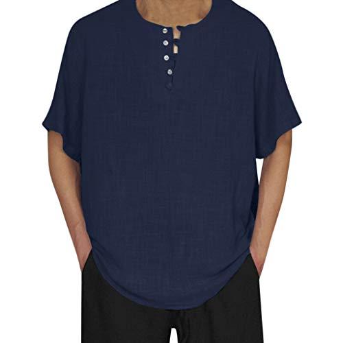 Basic Tactical Shirt (Hemden Herren Leinenhemd Freizeithemd Tailliert Baggy Baumwolle Leinen Volltonfarbe Kurzarm Retro T Shirts Tops Bluse Hemd Slim Fit Basic FüR Herrenoberteile Sommerhemden Größe S-2XL (S, Marine))