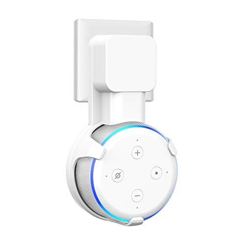 SPORTLINK Wandhalterung Halterung Ständer für Dot 3rd Gen (Nicht kompatibel mit Dot 2nd Gen), Aufgehängt WaMount Für Home Voice Assistants, Direkt in der Steckdose, mit Kabelmanagement (Weiß)