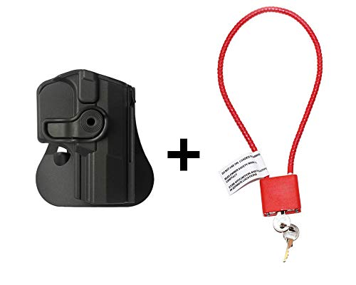 Walther P99 Holster & Cable Gun Lock, Level 2 Safety retention w trigger guard lock, 360 roto paddle polymer Holster Fits Walther P99 AS / P99C AS / Gen.2