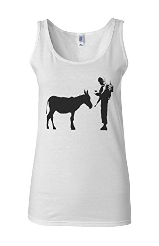 Banksy Soldier Donkey Asking ID Novelty White Femme Women Tricot de Corps Tank Top Vest **Blanc