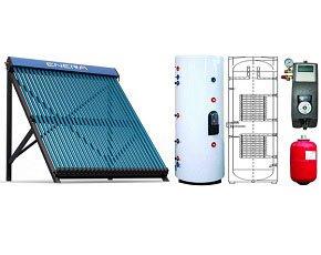 Calentador solar de agua forzado, para agua caliente y calefacción, depósito de 200 L, para 4 personas …