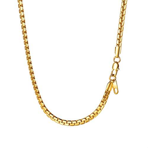 PROSTEEL 4mm breit massiv Ankerkette Herren Halskette 18k vergoldet Erbskette Gliederkette Biker Punk Rock Schmuck 66 cm/Gold