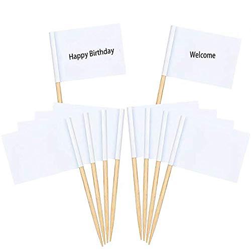 CozofLuv Leere Zahnstocher Flaggen I 100 Stücke Käse Marker Weiß Flaggen Kennzeichnung für Party Kuchen Lebensmittel Käseplatte Vorspeisen