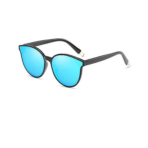 GY-HHHH Hochwertige Sonnenbrillen - Bunte verspiegelte Sonnenbrillen - Cat Eye Brillen - Vintage Oversized Sonnenbrille-blau