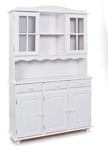 Esidra Mobile Buffet credenza vetrina Shabby, Pino massello, 130 x 198 x 32 cm