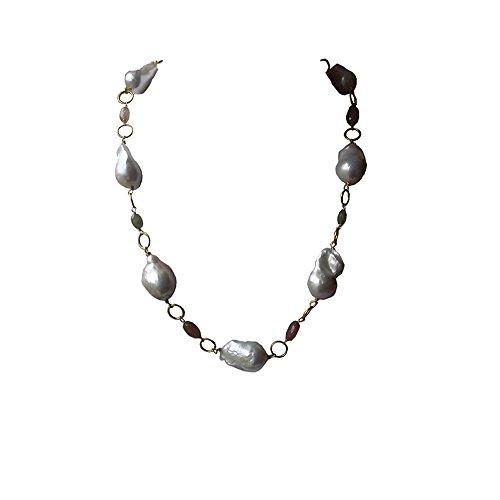 Collana di perle, stile barocco, colore: grigio - Coltivate Collana Di Perle Keshi