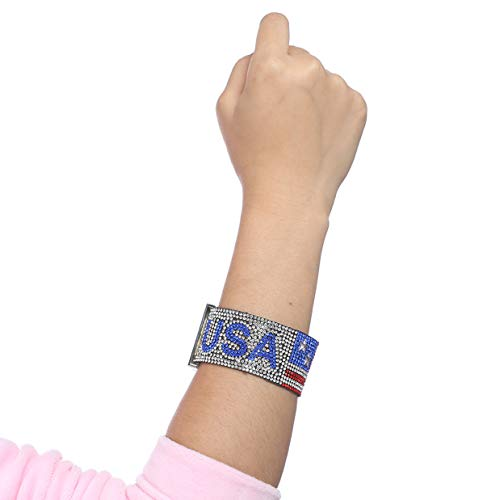dfhdrtj Preferred Diamond Armband Hip-Hop Patriotischer Schmuck American Independence Day für Geburtstag, Valentinstag, Jahrestag - Picture Color
