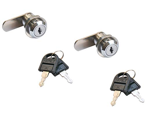Gedotec Möbelschloß Zylinder-Möbelschloss Hebelschloss SET für Briefkasten & Möbel | Stahl verchromt poliert | Zylinderschloss mit Schließweg: 90° | 2 Stück - Schrankschloss mit Schlüssel -