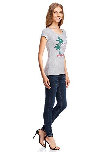 oodji Ultra Damen T-Shirt mit Druck Grau (236EZ)