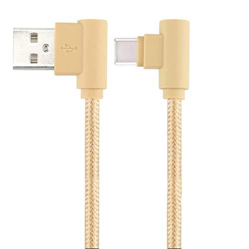 LoongGate super corto anguloso USB C cables diseñados para viajes, uso de bolsa, nylon trenzado 90 grado USB tipo C para el tipo a para Galaxy Note 8, S8, MacBook, LG V30 V20 G6 G5, Google pixel/2/pixel XL/2, Nexus 6P 5x etc (25cm, oro)