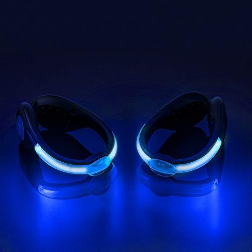 LED-Sicherheitsschuhe Clip Lights, Farbwechsel RGB Strobe und Dauerlicht Blitzmodus, Nachtfahrwerk Sicherheitsclip Lights für Laufen Jogging Wandern Radfahren 1 Paar (Blau) (Läufer Strobe)