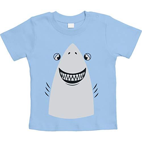 Weißer Hai Halloween Kostüm Unisex Baby T-Shirt Gr. 66-93 6-12 Monate / 76 Hellblau