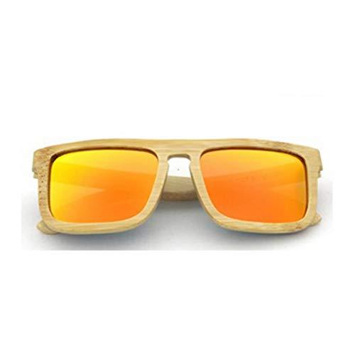 Yiph-Sunglass Sonnenbrillen Mode Handmade Full Frame Holz Sonnenbrille Quadratische Form Farbige Linse UV400 Schutz Für Unisex-Erwachsene. (Farbe : Orange)