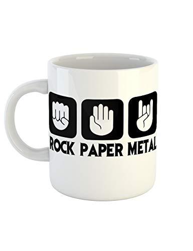 clothinx Kaffeetasse mit Aufdruck Rock Paper Metal