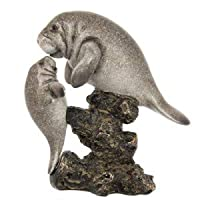 Nautical Grey Manatee Statue Figiurine with Baby Manatee Above Rocks WW-394
