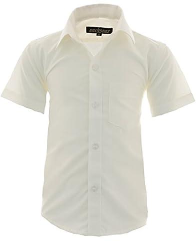 A0 Kinder Party Hemd freizeit Hemd bügelleicht Kurz ARM mit 9 Farben Gr.86-158 (140-146, Creme)