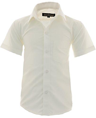 GILLSONZ A0 vDa New Kinder Party Hemd Freizeit Hemd bügelleicht Kurz ARM mit 9 Farben Gr.86-158 (152-158, Creme) -
