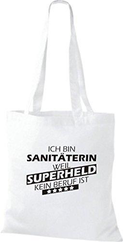 Shirtstown Stoffbeutel Ich bin Sanitäterin, weil Superheld kein Beruf ist Weiß