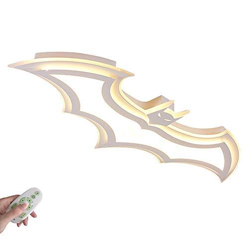 34W LED Lámpara de techo Lámpara de pared Moderno Dibujos animados Murciélago Blanco Plafones para Niños Dormitorio Sala de estar Cocina Comedor Loft Pasillo Club L95CM, Regulable con control remoto
