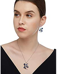 SHAZE Silver-Colored Blue Sapphire Butterfly Pendant|Necklace Set for Women|Necklace for Women