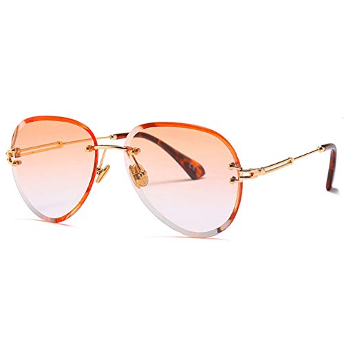Shihuam New Oval Randlose Mode Vintage Übergroße Sonnenbrille Frauen Exquisite Verlaufslinse Uv400 Sonnenbrille,Orange