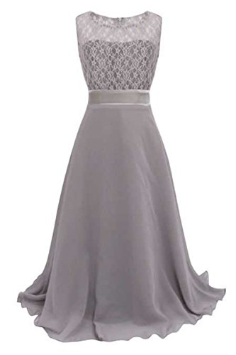 YMING Mädchen elegante Spitze langes Festzug Abend Kleid Grau 12 13 Years (Spanisch-spitze-lange Kleid)