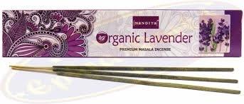 12 x Nandita Lavande Bio Premium Bâtons d'encens (boîte de 12) 15 g.