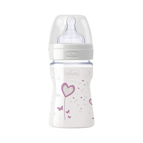Chicco Wellbeing - Biberón de vidrio/cristal con tetina silicona anti cólicos, flujo normal, 150 ml, bebés 0 m+, color rosa