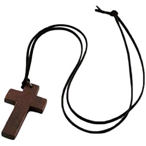 timelyo® Bijoux cadena collar Rosario colgante de madera Cruz Catholique Jesus Cristo Oración
