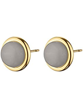 Dyrberg/Kern Damen-Ohrstecker ICONS FINA SG Messing teilvergoldet Opal grau Rundschliff 1.5 cm - 343659